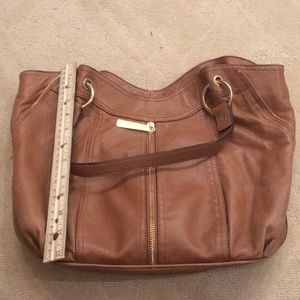 Michael Kors Bags - Brown Gold Michael Kors purse zipper bag leather